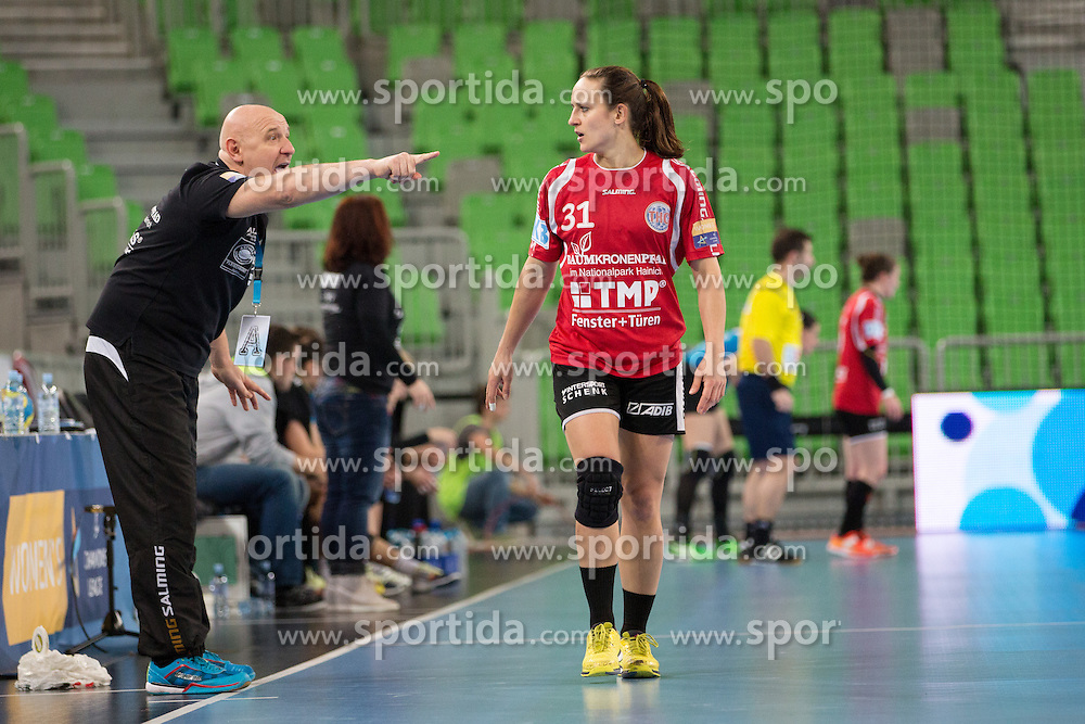 Herbert Muller, head coach of Thüringer HC, and Kerstin Wohlbold of Thüringer HC during handball match between RK Krim Mercator (SLO) and Thüringer HC (GER) in 6th Round of Women's EHF Champions League 2014/15, on January 31, 2015 in Arena Stozice, Ljubljana, Slovenia. Photo by Matic Klansek Velej / Sportida