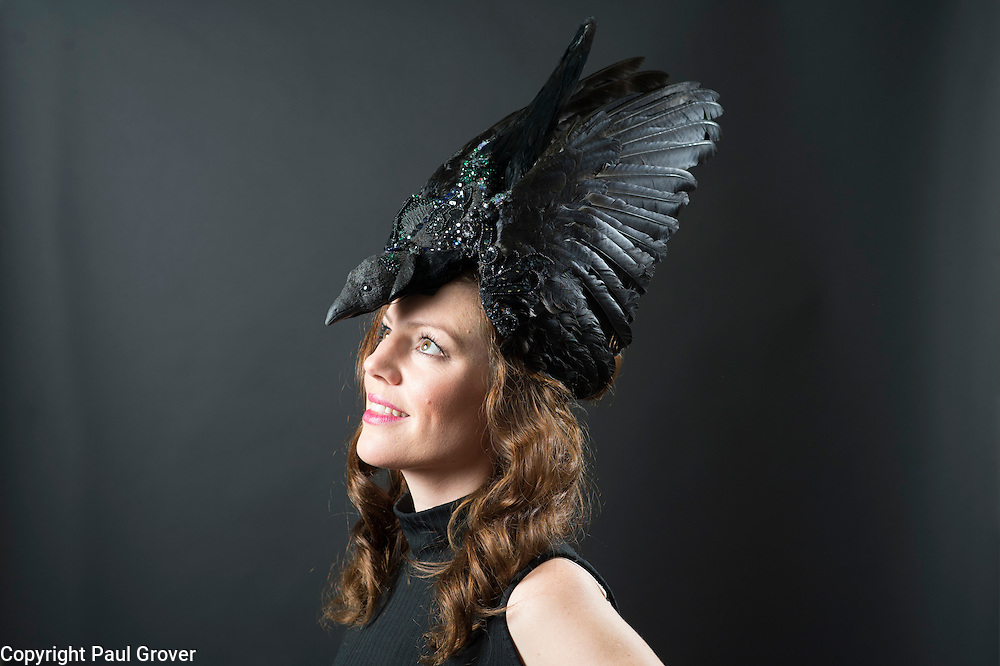 Milliner Natalie Ellner pictured in her studio wearing one of her creations The Raven a headpiece one 1 of 11 that she is providing to dress each set of guests with spectacular animal masks and headgear at the Animal Ball 2016 on November 22nd, the world's greatest fashion houses will collaborate to dress a bestiary of beautiful creatures from all corners of British society to celebrate and protect nature's greatest masterpieces