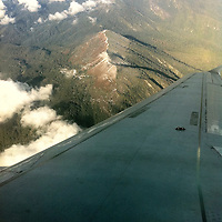 Asia, Bhutan, Paro. Sharp bank right after take off from Paro Airport in Bhutan (in the Himalayas).