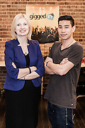 Pictures show Edwin Onggo [Gigged In Founder] and Anna Rooke [ QUT CEA CEO] , 125 York St, Sydney. 12th June 2015