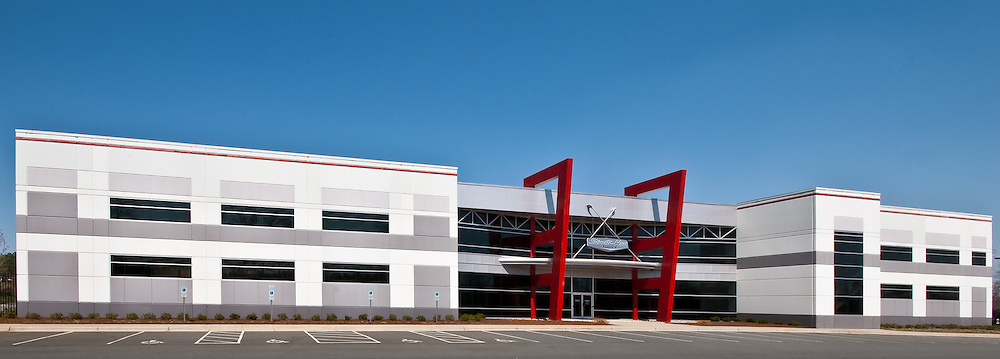 Architectural Photograph of NASCAR racing team Stewart Hass Racing shop and headquarters. Stewart-Haas Racing<br /> Kannapolis, NC