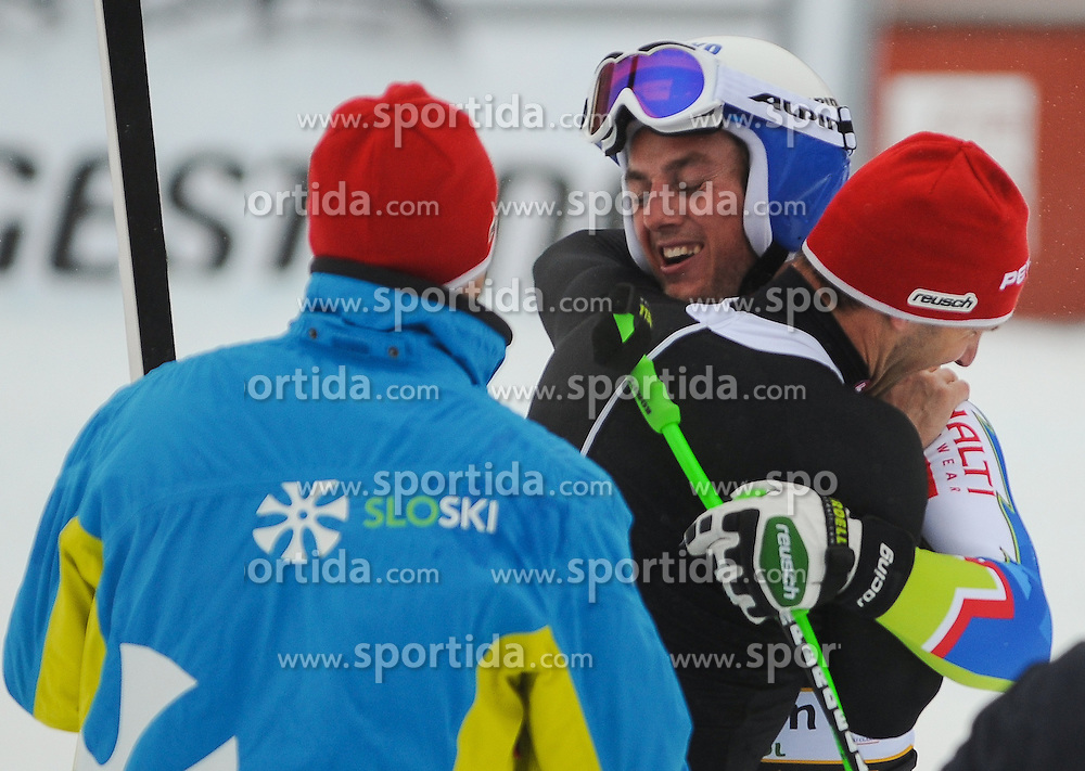 15.12.2012, Sasslong, Groeden, ITA, FIS Weltcup, Ski Alpin, Abfahrt, Herren, im Bild Rok Perko (SLO, Platz 2) // 2nd place Rok Perko of Slovenia reacts after his Downhill run of the FIS Ski Alpine Worldcup at the Sasslong course, Groeden, Italy on 2012/12/15. EXPA Pictures © 2012, PhotoCredit: EXPA/ Erich Spiess