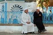 people on Plaza Uta el Hammam, Chefchaouen, Rif Mountains, Morocco