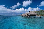 Overwater bungalows at Bora Bora Lagoon resort; Bora Bora, Tahiti..