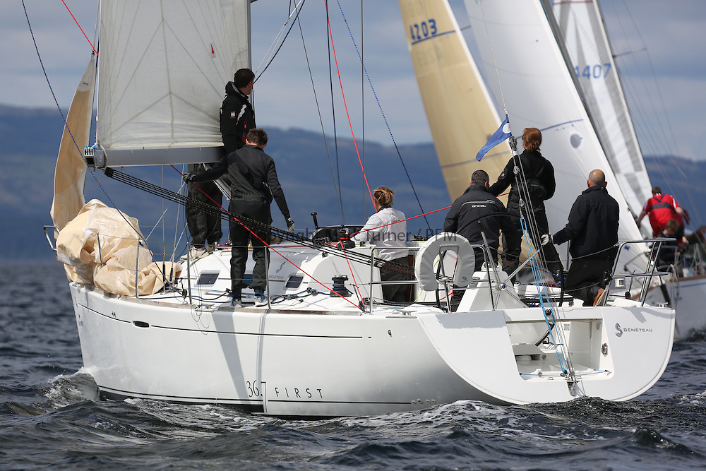 The Silvers Marine Scottish Series 2014, organised by the  Clyde Cruising Club,  celebrates it's 40th anniversary.<br /> Day 2, IRL1668, Animal, D&amp;K Aitken, CCC/RNCYC, First 36.7<br /> Racing on Loch Fyne from 23rd-26th May 2014<br /> <br /> Credit : Marc Turner / PFM