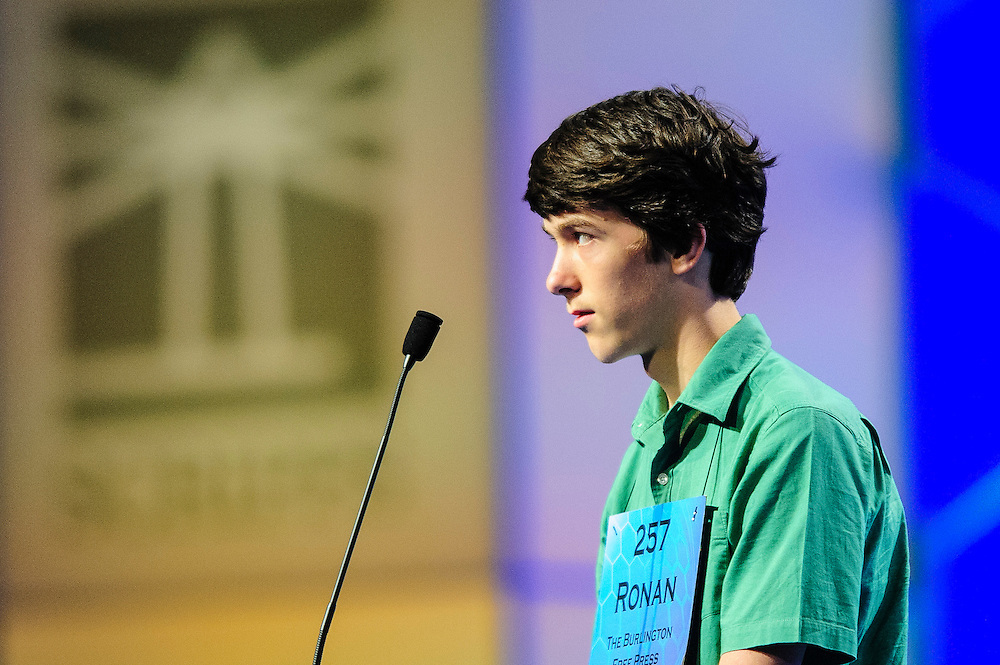 Ronan Howlett, 14, of Cornwall, Vermont participates in the semifinals of the Scripps National Spelling Bee on May 30, 2013 at the Gaylord National Resort and Convention Center in National Harbor, Maryland.  UPI/Pete Marovich