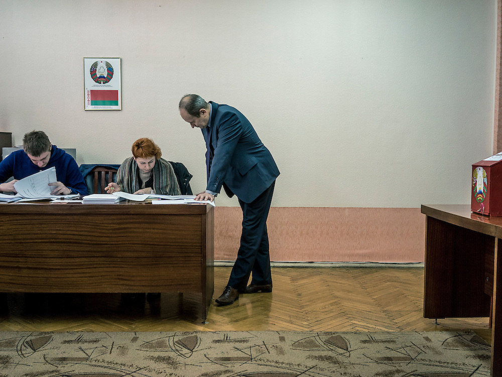 A polling station where early voting is taking place on Wednesday, October 7, 2015 in Minsk, Belarus. President Alexander Lukashenko, a longtime iron-fisted ruler of Belarus, was elected to a fifth term with a reported 83.5% of the vote, which international monitors said did not meet democratic standards. Early voting is often cited as a source of vote-rigging; in this case, some 36% of voters cast their ballots before election day.