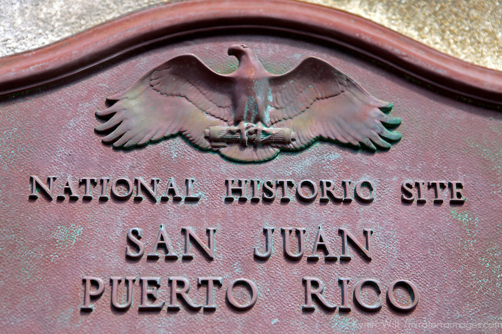 USA, Puerto Rico, San Juan. Plaque of San Juan Mational Historic Site.
