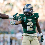 SHOT 9/19/15 5:25:46 PM - Colorado State's Deionte Gaines #2 high fives teammates after a touchdown against Colorado during the Rocky Mountain Showdown at Sports Authority Field at Mile High in Denver, Co. Colorado won the game 27-24 in overtime. (Photo by Marc Piscotty / © 2015)
