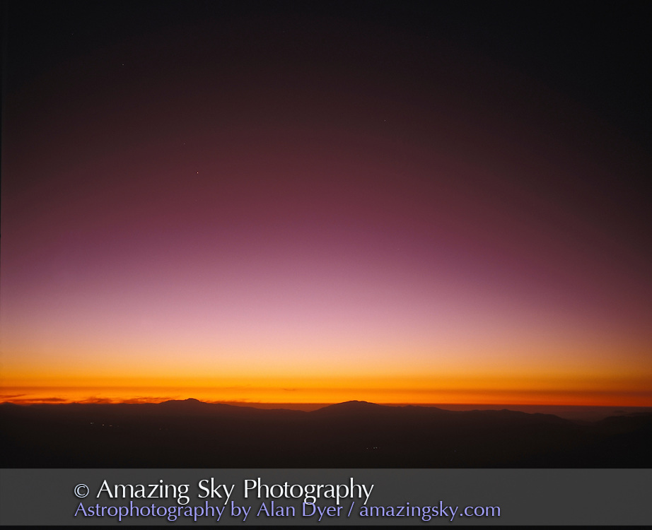 Taken from Las Campanas Observatory, Chile, November 1994, with ash from Mt Pinatubo eruption in 1991 still present in sky coloring twilights red/purple. <br /> <br /> Taken with Plaubel Makina 6x7 camera with 80mm lens and Ektachrome 100 slide film, 120-format. Scanned in 16-bit mode but converted down to 8-bits.