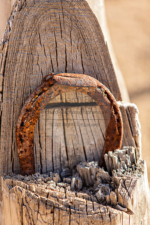 Old rusty horseshoe in the ghost town in Rhyolite, NV.