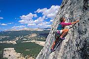 Climber on Fairview Dome, Tuolumne Meadows, Yosemite National Park, California USA