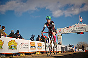 SHOT 1/12/14 3:19:06 PM - Emma Dunn (#67) crosses the finish line in the Women's Elite race at the 2014 USA Cycling Cyclo-Cross National Championships at Valmont Bike Park in Boulder, Co. (Photo by Marc Piscotty / © 2013)