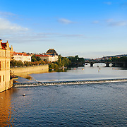 Vltava river view from Charles bridge in Prague