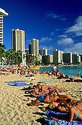 Image of Waikiki Beach and resorts along the coastline, Honolulu, Oahu, Hawaii, America West