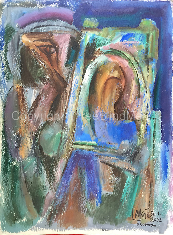 Laki Senanayake. <br /> &rsquo;Easel&rsquo;  30&rdquo; x 22&rdquo;. Orlando. January 2002<br /> WC and Crayon on Paper.<br /> 250