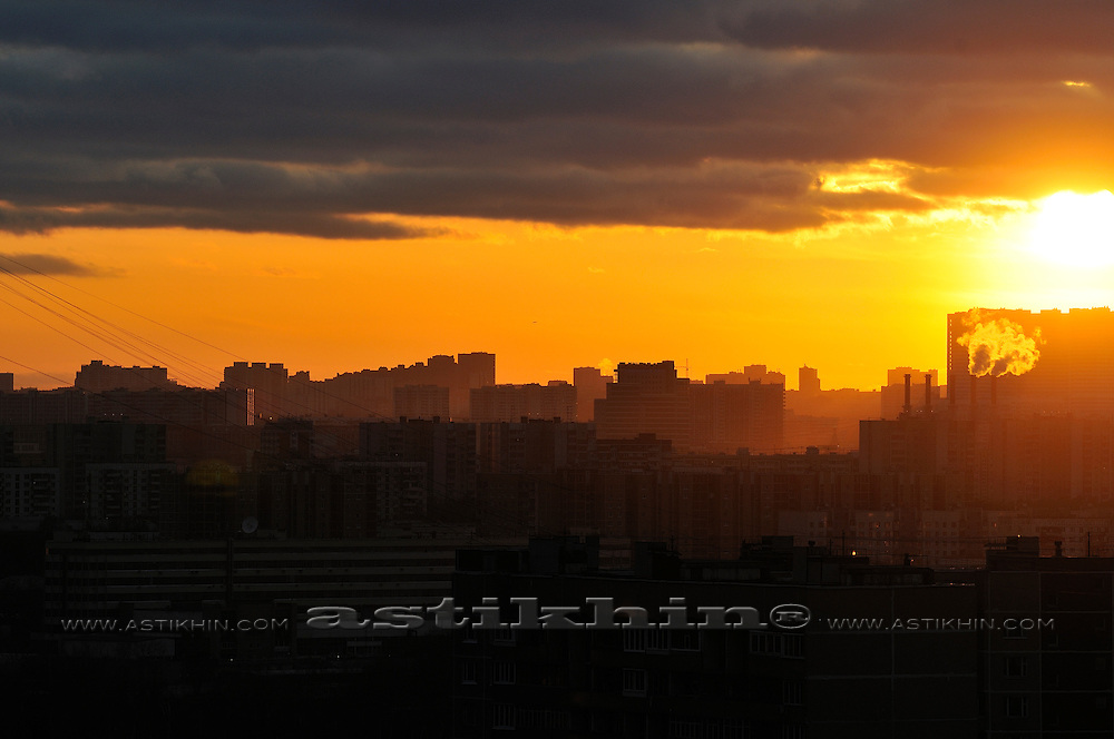 Last beam of sunset in Moscow, Russia.