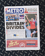 British newspaper Metro front page on the day after the EU Referendum, London, UK - 24 Jun 2016