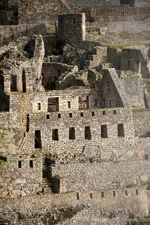 South America, Peru, Machu Picchu. Stone ruins of the citadel.