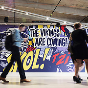 """The Vikings Are Coming"" is a pop-inspired mural by Greg Gossel in U.S. Bank Stadium, the new home of the Vikings, in Minneapolis July 19, 2016."