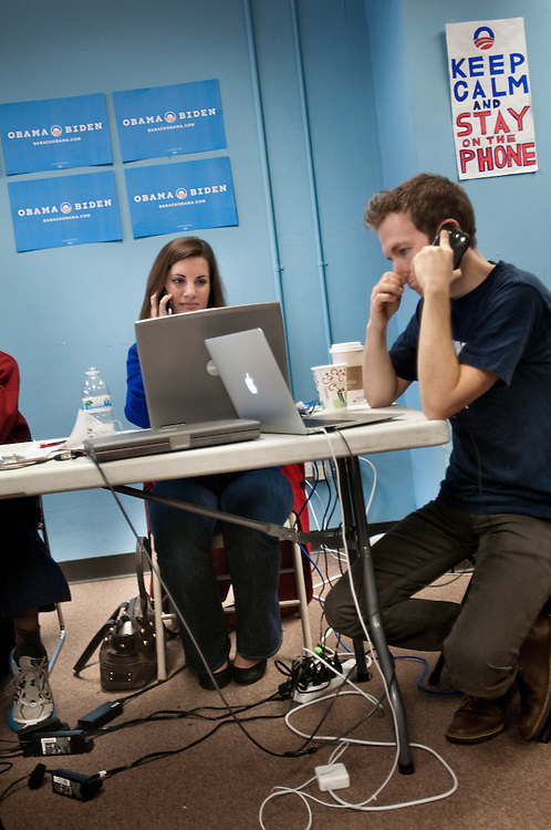 Volunteers Cassandra Gaddo and Jesse Kibbey  calling voters from  Obama's headquarters in Chicago prior to the election