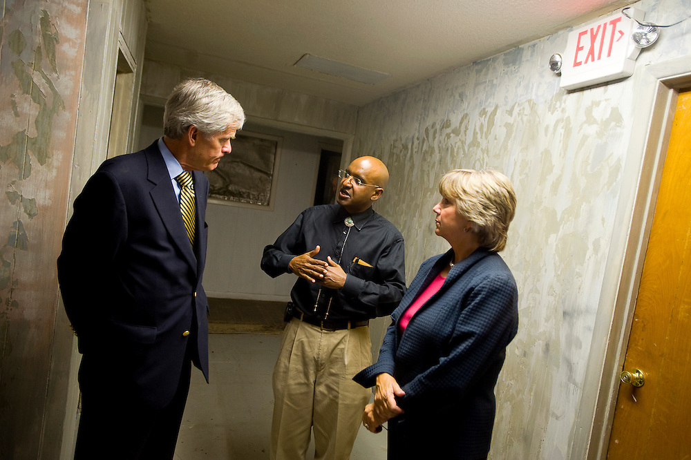 082310       Brian Leddy.Sen. Jeff Bingaman and Lt. Gov. Diane Denish talk with Sanjay Choudhrie of Care 66 at the Lexington Hotel on Monday. Bingaman helped secure $487,000 in funding to help Care 66 with their operations for Fiscal Year 2010.