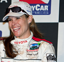 LONG BEACH, CA - APR 18: ESPN pit reporter Jamie Little  shares her great experience of the Toyota Pro/Celebrity Race 2009 during the 35th Toyota Grand Prix of Long Beach 2009 during the press conference post race April 18, 2009. Mandatory Credit: Photo: © Eduardo E. Silva.