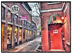 """Commercial Alley in Portsmouth, New Hampshire. iPhone photo - suitable for print reproduction up to 8"""" x 10""""."""