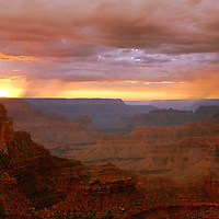 Thunderstorm during evening sunset over Grand Canyon, Arizona