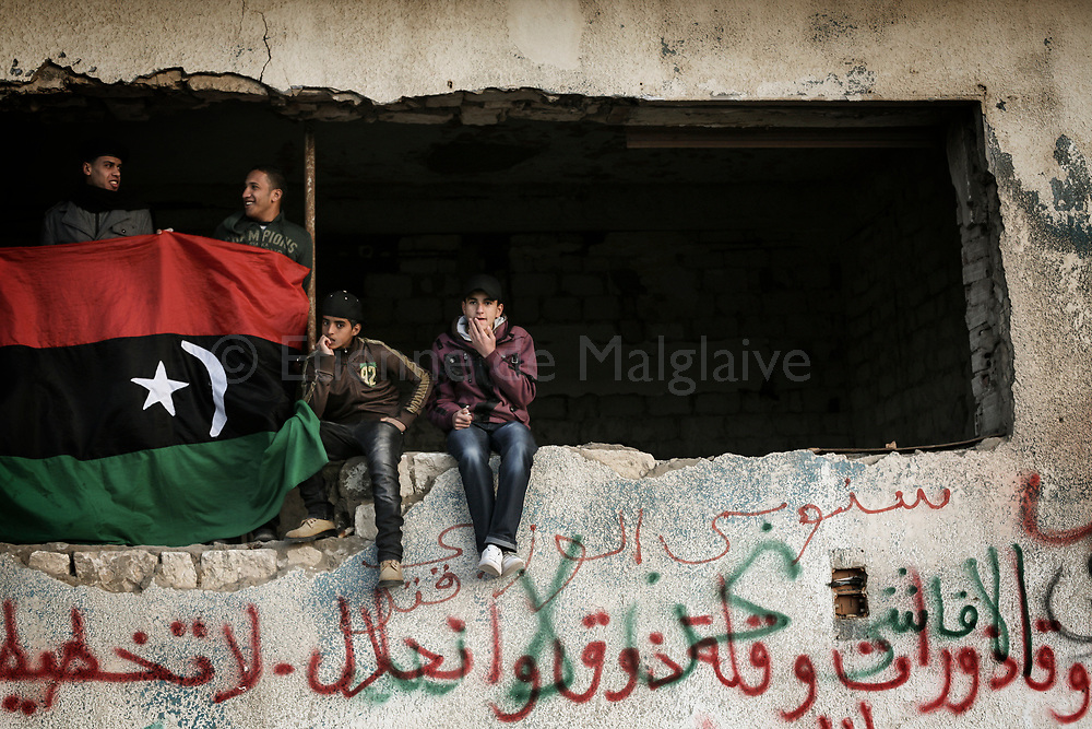 Demonstration in uprised Benghazi demanding a rapid implementation of a no fly zone over Libya to protect civilians from air attack by forces of Muammar Gadhafi. 12 March 2011.