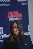 New Ole Miss softball coach Windy Thees speaks at a press conference in Oxford, Miss. on Tuesday, July 5, 2011. Thees, who started the University of Memphis softball program and built the Tigers into an NCAA Tournament team, was named as the head softball coach at Ole Miss by Athletics Director Pete Boone on June 30, 2011.