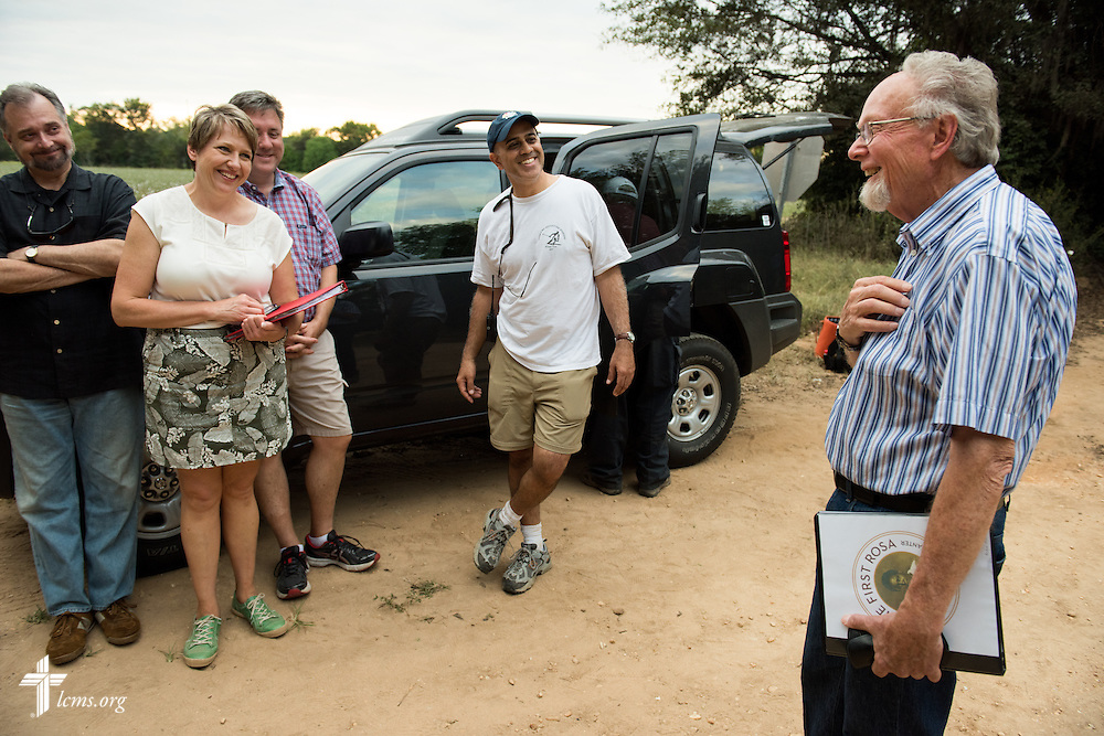 Director Ardon Albrecht thanks his crew as they wrap on the final day of filming for 'The First Rosa' documentary on Thursday, September 25, 2014, near Selma, Ala. LCMS Communications/Erik M. Lunsford