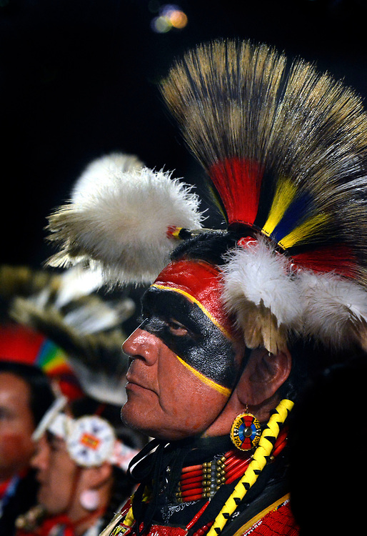jt042817d/a sec/jim thompson/ Pat More of Stillwater OK.   dances during the Grand Entrance of the 2017 Gathering of Nations Pow-Pow held at Tingley Coliseum.   Friday April 28, 2017. (Jim Thompson/Albuquerque Journal)