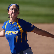 Hofstra University Pitcher Madison Grimm (1) throws a pitch during a Colonial Athletic Association regular season softball game between Delaware and Hofstra Saturday, April 16, 2016, at Delaware softball stadium in Newark, Delaware.