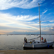 Sailing on Lake Mendota in Madison, Wisconsin near the University of Wisconsin-Madison.