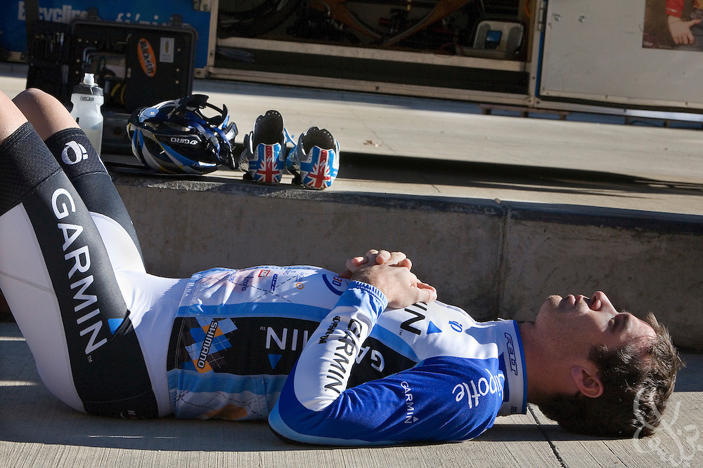 Team Garmin-Chipotle road racer David Millar stretches his back prior to a team ride November 22, 2008 in Boulder, Colorado. Millar , once suspended from racing for using the banned enhancement drug EPO, is now an outspoken advocate of clean racing, and is one of the leaders of the Garmin-Chipotle professional team who have been at the forefront of a renewed effort to keep professional cycling drug-free.