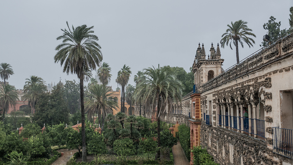 "A rare rainy day at the ""Reales Alcázares de Sevilla."" Originally developed by Moorish Muslim kings, the palace is renowned as one of the most beautiful in Spain. The upper levels of the Alcázar are still used by the royal family as the official Seville residence."