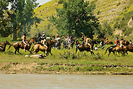 Custer's Last Stand Reenactment; Battle of the Little Bighorn; Crow Indian Reservation; Montana; General George Custer, 7th Cavalry battle Indians forces on the banks of Little Bighorn River
