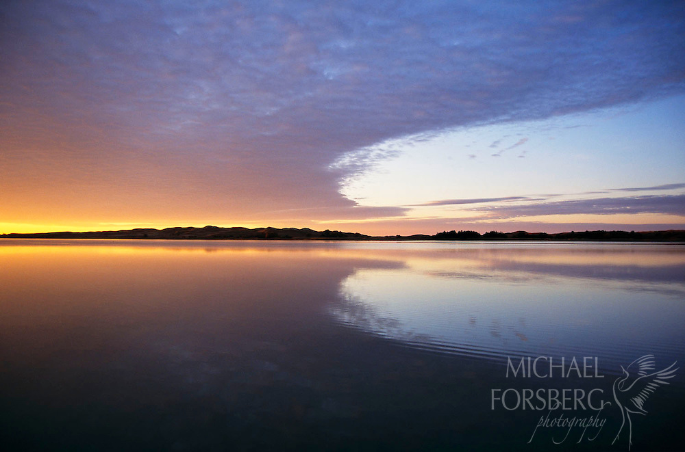 Nebraska Sandhills lake at sunset; Valentine National Wildlife Refuge, Cherry County, Nebraska.