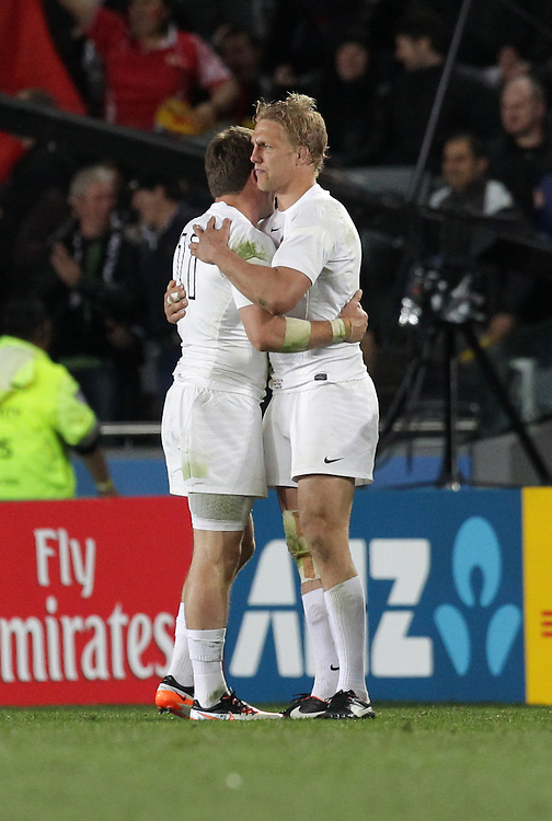 England's Alex Corbisiero, left, commiserates with captain Lewis Moody after losing to France in quarter-final 2 match of the Rugby World Cup 2011, Eden Park, Auckland, New Zealand, Saturday, October 08, 2011.  Credit:SNPA / David Rowland