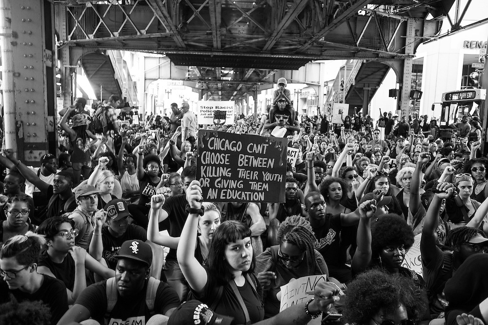 Youth activists led a Black Lives Matter protest around downtown Chicago with over 1,000 participants in Chicago on July 11, 2016.
