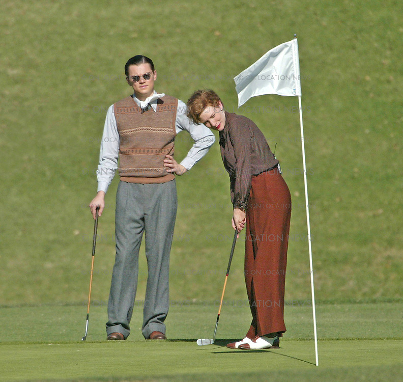 October 14th 2003  Hollywood, CA. ***EXCLUSIVE*** Leonardo Dicaprio and Cate Blanchett film a golf scene for The Aviator. Photo by Eric Ford 818-613-3955 info@onlocationnews.com