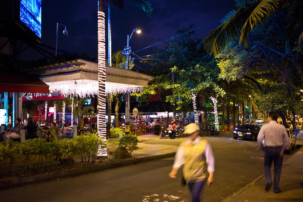 Nightscape in El Poblado, Medellín, Antioquia, Colombia.