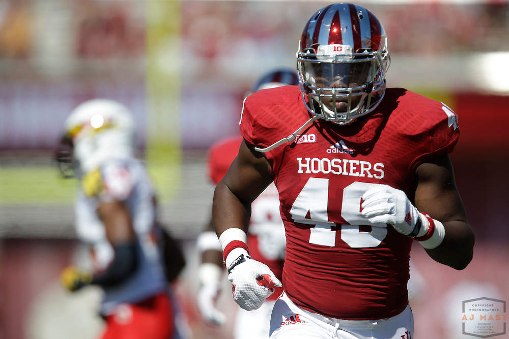 27 September 2014: Indiana Hoosiers linebacker Greg Gooch (49) as the Indiana Hoosiers played Maryland in a college football game in Bloomington, IN.