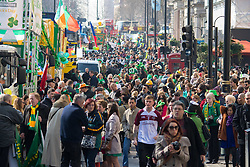London, March 13th 2016. The annual St Patrick's Day Parade takes place in the Capital with various groups from the Irish community as well as contingents from other ethnicities taking part in a procession from Green Park to Trafalgar Square.  PICTURED: A general view of the crowd prior to the beginning of the procession. &copy;Paul Davey<br /> FOR LICENCING CONTACT: Paul Davey +44 (0) 7966 016 296 paul@pauldaveycreative.co.uk