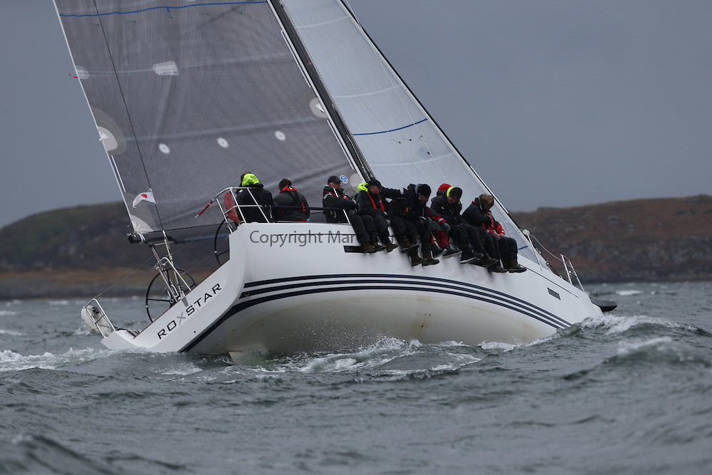 The Clyde Cruising Club's Scottish Series held on Loch Fyne by Tarbert. <br /> Day 4 Racing with a wet Southerly to start clearing up for the last race.<br /> <br /> GBR8038R ,Roxstar ,Jonathan Anderson, CCC ,XP38i