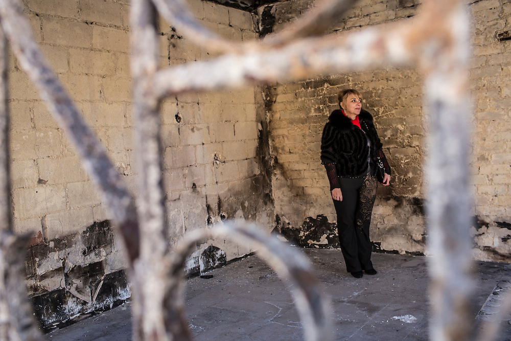 Svetlana Gudina, whose beauty supply store was destroyed on January 24 when it suffered a direct hit by a Grad rocket, on Sunday, March 8, 2015 in Mariupol, Ukraine. Photo by Brendan Hoffman, Freelance