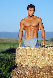 shirtless muscular man standing next to a hay bale on a ranch