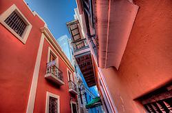 Pedestrian-only brick street in Old San Juan, Puerto Rico.
