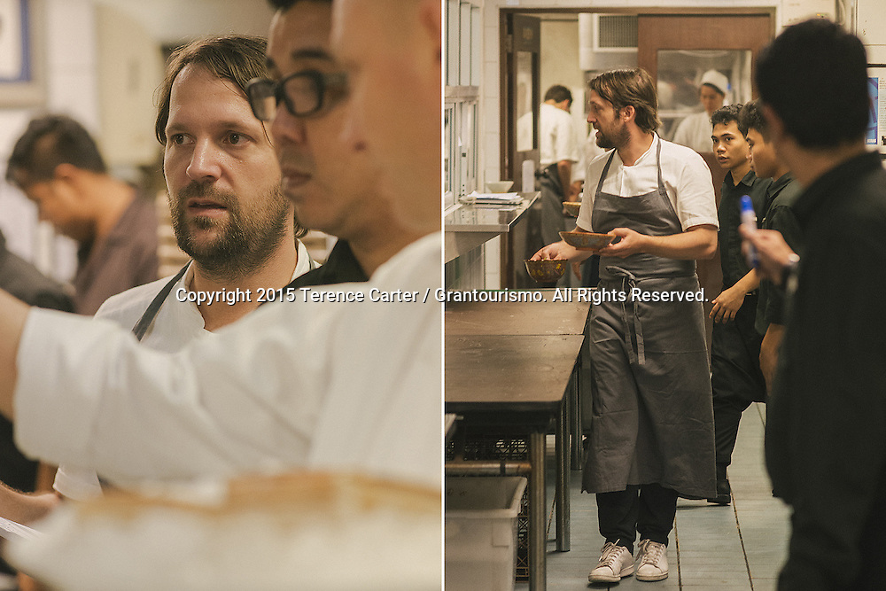 Chef Redzepi splits his time between checking the flow of service, encouraging the staff and running plates to each table. Copyright 2015 Terence Carter / Grantourismo. All Rights Reserved.